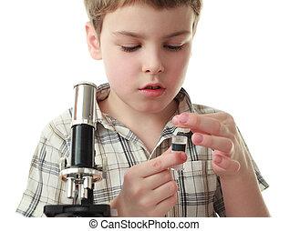 ragazzo, poco, checkered, camicia, tubo, microscopio,...