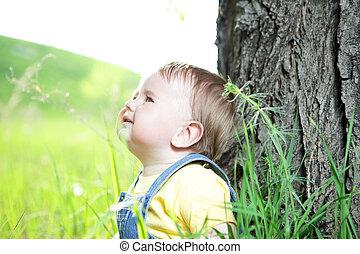 ragazzo, poco, erba, felice, seduta