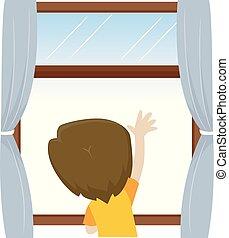 ragazzo, poco, esterno, illustrazione, ondeggiare, finestra,...