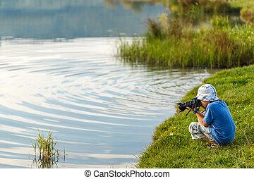 ragazzo, poco, fotografare