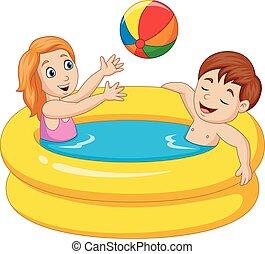ragazzo, poco, gonfiabile, ragazza, giocando piscina