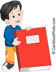 ragazzo, poco, libro grande, presa a terra, rosso