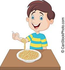 ragazzo, poco, mangiare, spaghetti