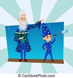 ragazzo, poco, osservatorio, illustration., scienza, nonno, ...