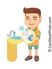 ragazzo, poco, piatti lavaggio, sink., caucasico
