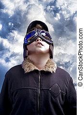 ragazzo, poco, pilot., vendemmia, conveniente, professionale, hat., aviazione, fare un sogno