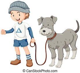 ragazzo, poco, presa, passeggiata cane, fuori