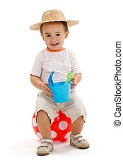 ragazzo, poco, punteggiato, seduta, sandbox, presa a terra, giocattoli, palla