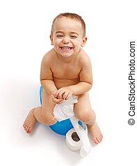 ragazzo, poco, ridere, potty, seduta
