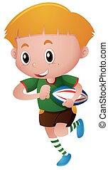 ragazzo, poco, rugby, gioco