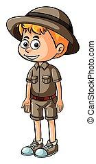 ragazzo, poco, safari, equipaggiamento