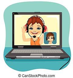 ragazzo, poco, suo, ciarlare, technology., comunicazione, concept., moderno, via, video, chiacchierata, madre, chiamata, internet.
