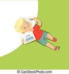 ragazzo, poco, suo, colorito, pavimento, cima, indietro, matite, bambino, disegno, dire bugie, vista