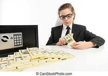 ragazzo, poco, suo, lavorativo, seduta, soldi, soldi., ...