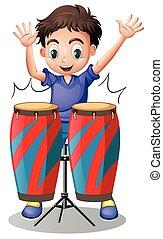 ragazzo, poco, tamburi eseguono