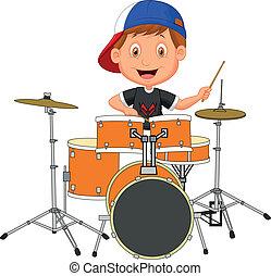 ragazzo, poco, tamburo, cartone animato, gioco