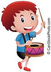ragazzo, poco, tamburo, gioco