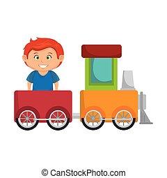 ragazzo, poco, treno, giocattolo