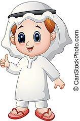 ragazzo, pollice, dare, musulmano, su, cartone animato