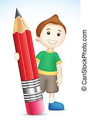 ragazzo, presa a terra, matita