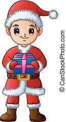 ragazzo, presa a terra, regalo, claus, costume, santa, cartone animato
