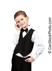 ragazzo, presa a terra, uno, cellphone