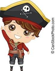ragazzo, punto, su, illustrazione, costume, pirata, capretto