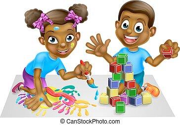 ragazzo, ragazza, blocchi, gioco, vernice