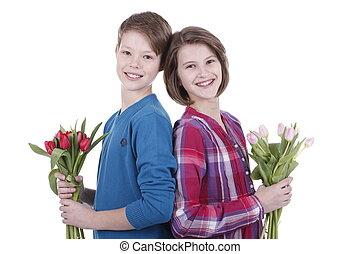 ragazzo ragazza, con, tulips