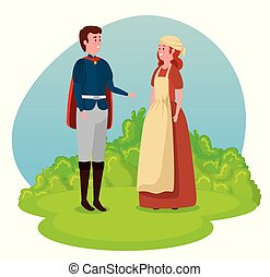 ragazzo, ragazza, contadino, principe, capo