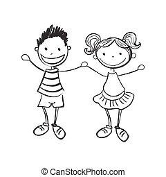 ragazzo, ragazza, disegnato, illustrazione, mano