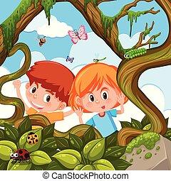 ragazzo, ragazza, gioco, natura
