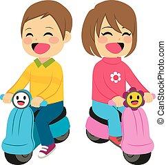 ragazzo, ragazza, motocicletta