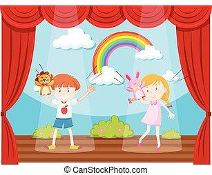 ragazzo, ragazza, palcoscenico, mostra burattino