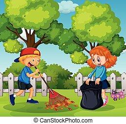 ragazzo, ragazza, pulizia, giardino