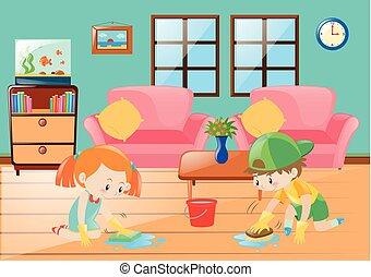 ragazzo, ragazza, pulizia, pavimento