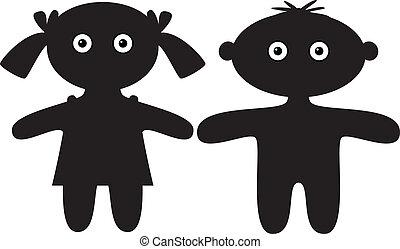 ragazzo, ragazza, silhouette, bambole