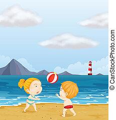 ragazzo, ragazza, spiaggia, gioco volleyball