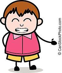 ragazzo, rallegrare, -, grasso, vettore, illustrazione, cartone animato, adolescente