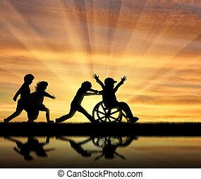 ragazzo, riflessione, carrozzella, gioco, acqua, loro, bambini, felice