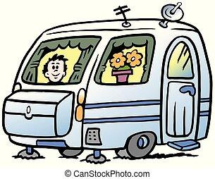 ragazzo, roulotte, illustrazione, vacanze, vettore, pronto, cartone animato