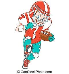 ragazzo, rugby, cartone animato, giocatore