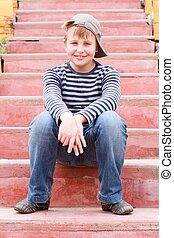 ragazzo, scale, seduta