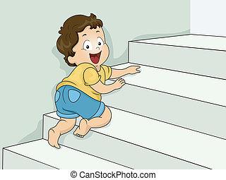 ragazzo, scale, strisciare