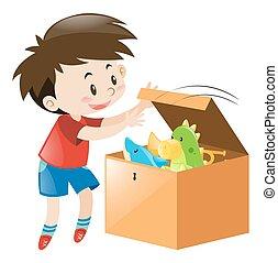 ragazzo, scatola aperta, pieno, di, giocattoli