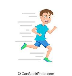 ragazzo, scuola, appartamento, corridore, illustrazione, day., correndo, vettore, disegno, running., sport, o, maratona, capretto