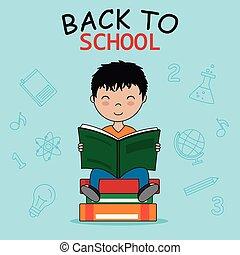 ragazzo, scuola, lettura, card., indietro