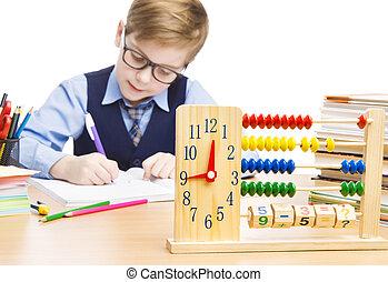 ragazzo, scuola, orologio, studenti, educazione, pupilla, bambino, abbaco