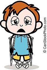 ragazzo, scuola, paziente, carattere, -, illustrazione, invalido, vettore, cartone animato