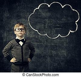 ragazzo, scuola, pensare, sopra, lavagna, educazione, sfondo nero, bambino, occhiali, bolla, pensare, capretto